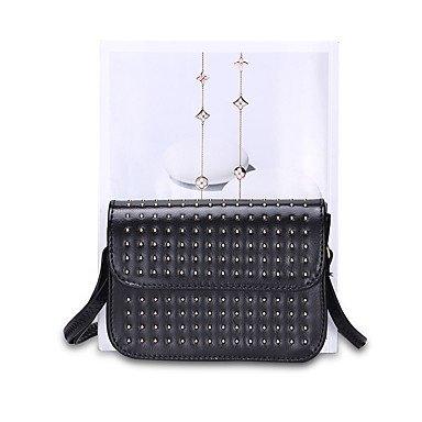 YJIUX Frauen Schultertasche PU alle Jahreszeiten Hochzeit Casual offizielles Büro & Karriere Sling Bag Niet magnetische Silber Schwarz Gold Black