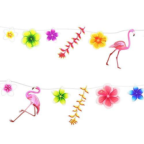 (KOBWA Jungle Theme Fenster Dekoration, Flamingo Flower Hängende Verzierung Tropische Blätter für Geburtstag Schlafzimmer Strand Hochzeit DIY Wreathe Parteien Geschenke Dekorationen)