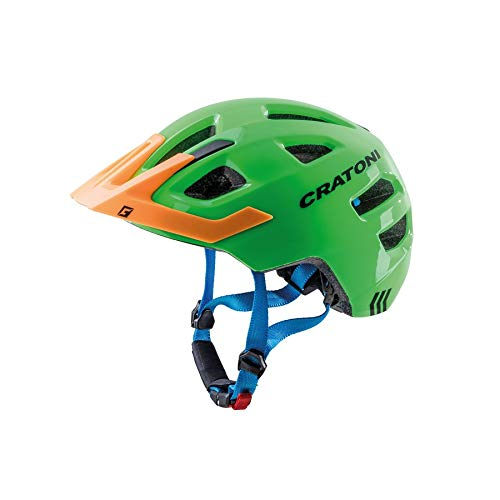 Cratoni Kinderfahrradhelm Maxster Pro, Lime-orange-Blue Glossy, Gr. XS-S (46-51 cm)
