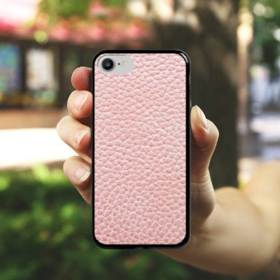 Apple iPhone X Silikon Hülle Case Schutzhülle Leder Muster Struktur Hard Case schwarz