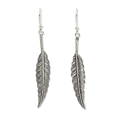 NOVICA .925 Sterling Silver Feather Motif Dangle Earrings, 'Flight' by NOVICA
