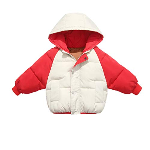 Livoral Kinder Winter MantelKleinkind Kind Mädchen Junge Winter Reißverschluss Warmer Winddichter Mantel Mit Kapuze Warme Jacke Jacke(Rot,120)