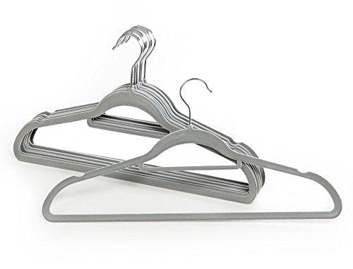 �ngen für Hose Kleidung Velours beflockt rutschfest Kleiderbügel mit Stange LIGHT GREY (10 x Hangers) (Rille Jacke Kostüme)