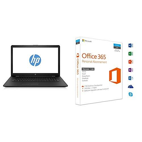 Preisvergleich Produktbild HP 17-ak015ng 1UQ12EA 43,9 cm (17,3 Zoll) Laptop (AMD Dual-Core E2-9000e, 4 GB RAM, 500 GB HDD, AMD Radeon R2-Grafikkarte, FreeDOS 2.0) schwarz + Microsoft Office 365 Personal - 1 PC/MAC - 1 Jahresabonnement - multilingual (Product Key Card ohne Datenträger)