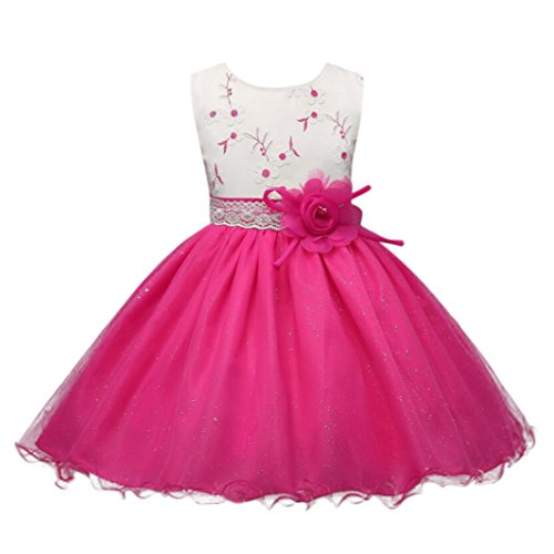 ❤️Kobay Kinder Baby Mädchen Blumen Geburtstag Hochzeit Brautjungfer-Festzug Prinzessin Abendkleid (140/7-8Jahr, Rosa-1)