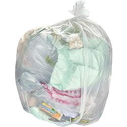 Alina 100 x 90L Naturel/Clair Sac Poubelle coloré/Sac Poubelle en polyéthylène/Sac Poubelle en Plastique/Sac Poubelle Naturel/Clair 90 litres/Usage Moyen (28 microns/Calibre 112) (100 Sacs)