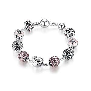 Sissi jewelry Bracciale con Charms 925 Placcato A Forma di Cuore Bracciale fai da te