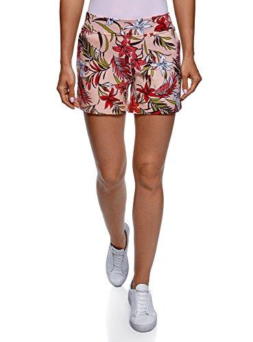 oodji Ultra Damen Bedruckte Baumwoll-Shorts, Rosa, DE 44 / EU 46 / XXL