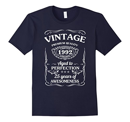 25-year-old-birthday-gifts-vintage-1992-t-shirt-herren-grosse-2xl-navy