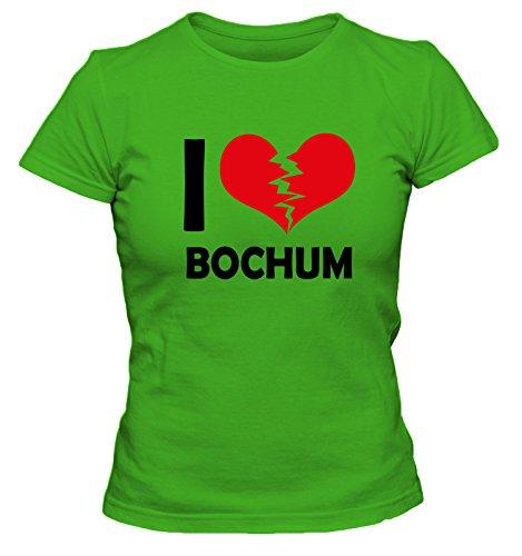 I don\'t love Bochum FUN Damen T-Shirt, Größe:S;Farbe:grün