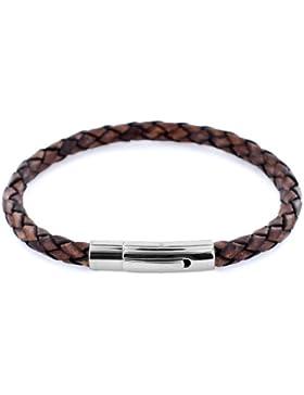 AURORIS Echtleder-Armband geflochten 5mm mit Hebeldruckverschluss aus Edelstahl Farbe: antik-braun