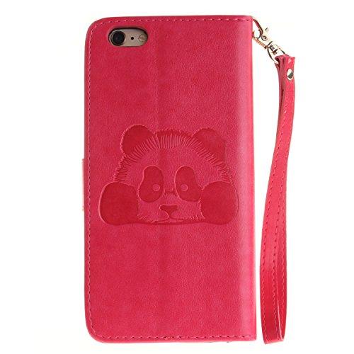 """Für iPhone 6 Plus/6S Plus 5.5"""" Gurt Strap Magnetverschluß Ledertasche Hülle,Für iPhone 6 Plus/6S Plus 5.5"""" Premium Seil Leder Wallet Tasche Brieftasche Schutzhülle,Funyye Stilvoll Jahrgang [Niedlicher Panda,Heißes Rosa"""