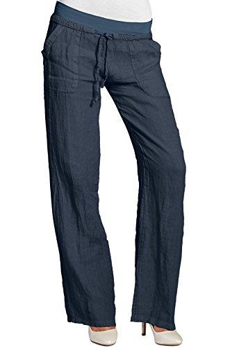 CASPAR KHS025 Damen Leinenhose, Farbe:dunkelblau;Größe:40 L UK12 US10