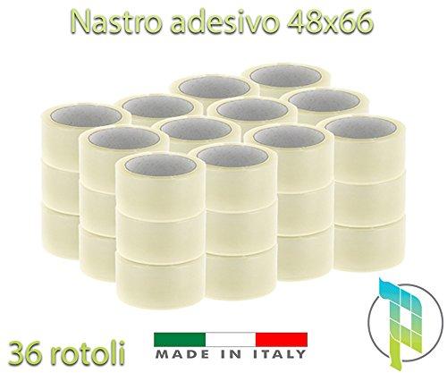 Palucart 36 rotoli pezzi nastro adesivo 50x66 SILENZIOSO per imballaggio colore TRASPARENTE