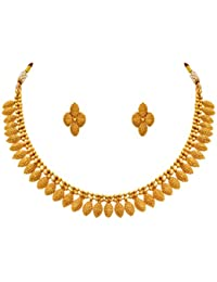 Jfl - Jewellery For Less Traditional One Gram Gold Plated Designer Necklace Set With Earrings For Women & Girls