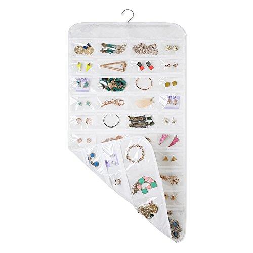 Organiseur de Bijoux de voyage à suspendre double face 88poches Armoire de stockage pour bague, boucles d'oreilles, bracelets, colliers, accessoires cheveux, blanc, 85 * 44cm/33.46 * 17.32''