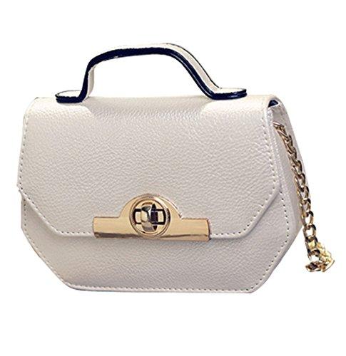 81d99c3ab4ee7 JOTHIN Mode Schultertasche mit Henkel Handtasche Kette für Damen Klein Weiß