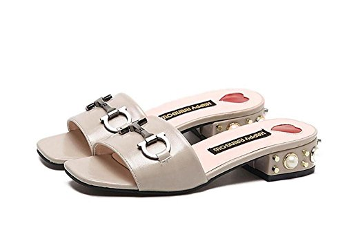 SHINIK Damen Peep Toe Sandalen British Metal Gürtelschnalle mit modischen T-Type Pantoffeln Pumps Slip On Mule Low Heel Schuhe PU Solid Sandalen Schwarz Beige Khaki apricot