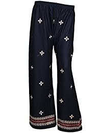 IndiWeaves Black Rayon Embroidered Trendy And Stylish Pallazo Pant For Women