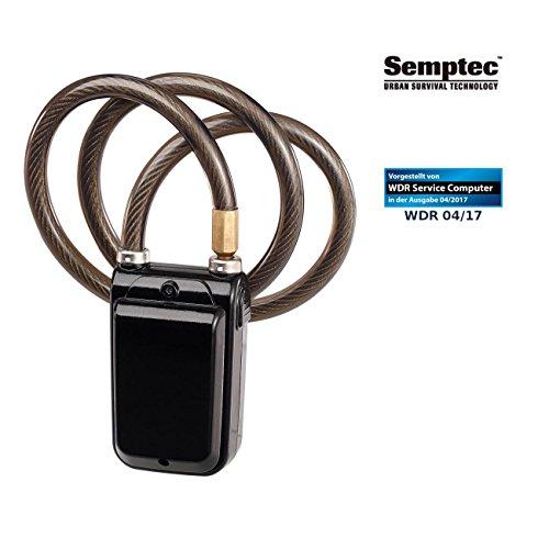 Semptec Urban Survival Technology Fahrradalarm: App-gesteuertes Kabelschloss, Bluetooth, Alarm für Fahrrad, Tür u.v.m. (Fahrrad Alarmanlage)