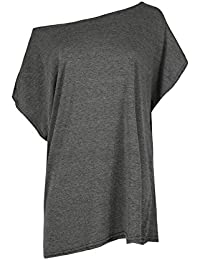 Damen Baggy Übergröße Jersey T-shirt Damen Schulterfrei Bardot