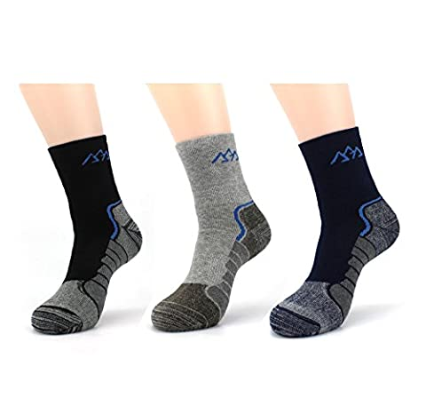 Waymoda 3 Pairs Unisex Winter Thick Warm Coolmax Hiking Socks,