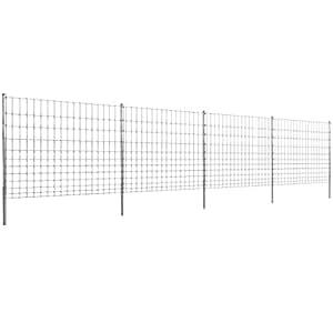 vidaXL Clôture galvanisé avec poteaux Haie barrière Treille de jardin 50 m 150/12/15