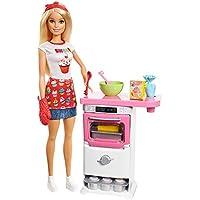 Barbie- Playset Pasticceria Bambola con Forno e Dolci Che lievitano e Cupcake Cambia Colore, Multicolore, FHP57