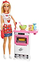 "Barbie bakery chef doll is ready to bake with an oven play set and food accessories that really rise! An oven sound, rising action and colour-change ""icing"" provide the ingredients for fun with easy-to-use mechanisms. Lots of colourful pieces..."