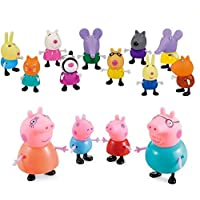 iDream Kid's PVC Pig Family & Friends Toy Set Action Figure 9cm & 5.8cm (Set of 14)