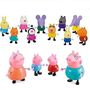 iDream Kid's PVC Peppa Pig Family & Friends Toy Set Action Figure 9cm & 5.8cm (Set of 14)