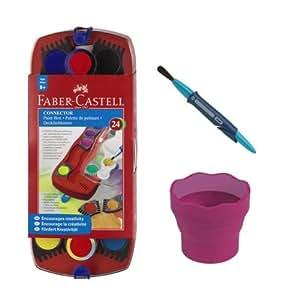 Faber-Castell Set de peinture 2 avec lot de 24 peintures Connector, gobelet à eau, pinceau Clic & Go de taille 8 (Violet)