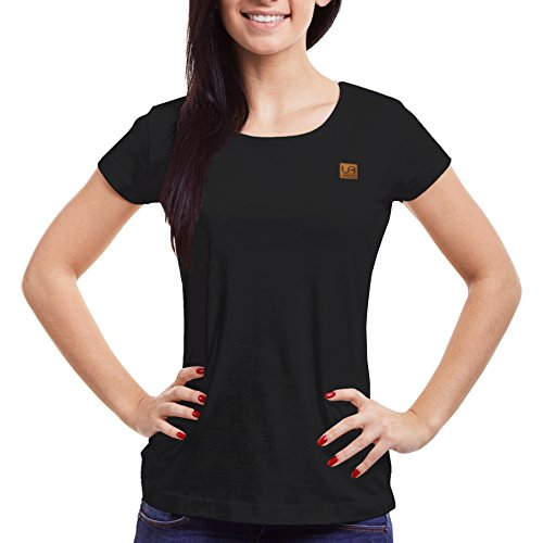 urban air StyleFit | T-Shirt | Damen | Sport, Freizeit | 100% Baumwolle, Leder-Patch, Rundhals, Kurzarm | Schwarz, Hell Grau, Weiß, Weinrot | S, M, L, XL | Tailliert (Schwarz, S) (Ärmelloses Shirt Baumwolle)