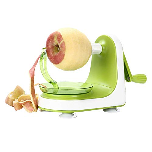Betzila Manual Apple Peeler Slicer - Suction Non Slip Counter Grips - Automatic Hand Crank - Replaceable Stainless Steel Blades with Protect Cover-Green