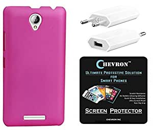 Chevron Rubberized Matte Finish Back Cover Case for Lenovo A5000 with HD Screen Guard & USB Mobile Wall Charger (Deep Pink)