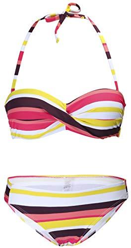 Ocean Plus Mujer Bandeau Bikini Acolchado Conjunto Sin Tirantes Raya Traje de Baño Push Up...