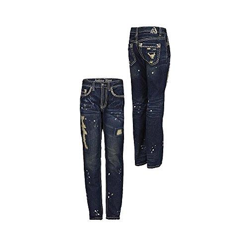 Antique Rivet Herren Jeans Pollock Blau 34/32