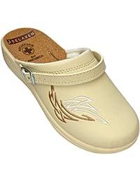 Relaxen Nouveau! Sandales pour femmes Slip-On | Travail et Accueil | Mocassins avec Détails Semelle en liège! 36-41 Blanc Beige Modèle 4016-PL