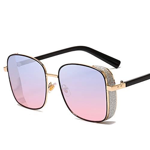 Quadratische Steampunk-Sonnenbrille für Damen und Herren, Metallrahmen, Sonnenbrille mit glänzenden Tönen, Spiegelbrille - Unisex-Retro-Brille mit UV400-Schutz für Freizeit / Urlaub,BluePinkLens