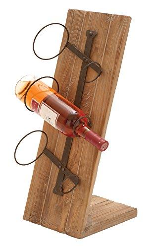 Deco 79Tisch Top Holz Metall Weinflaschenhalter, braun, 9x 8x 22
