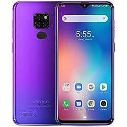 """Vernee M7 Telephone Portable Débloqués, 4Go + 64Go Dual SIM 4G Smartphone Android 9.0, MTK6761 Quad-Core 13MP/8MP 3 Caméra arrière 6.1"""" Écran Batterie 3500mAh Mobile - Visage ID+Empreinte Digitale"""