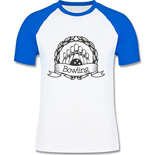 Bowling & Kegeln - Bowling Lorbeerkranz - zweifarbiges Baseballshirt für Männer Weiß/Royalblau