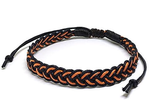 Artisan Asiatique Bracelet Fait Main 100% Ficelle de Coton Couleur Orange Noir Thaïlande