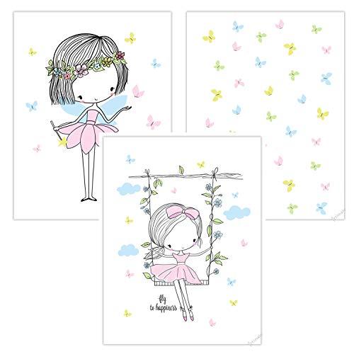 timalo® 3 Stück Kinderzimmer Bilder im Set - Bilderset süße Elfe und Fee mit Schmetterlingen rosa Mädchen Poster p-3er-set-009-A4