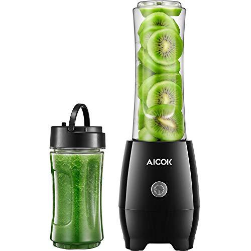 Aicok Smoothie Maker, Personal Blender mit Travel Portable Flasche, Edelstahl 4-Blatt für Shakes und Smoothies, Tritan BPA-frei, 300W