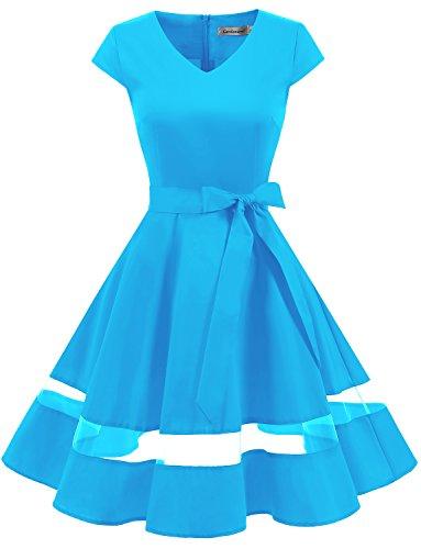 age 1950er Retro Rockabilly Festliches Kleid Cocktailkleider PartyKleid Blue S (1950er Jahre Kostüme)