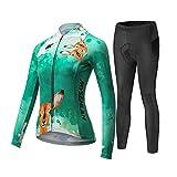 MYSENLAN Damen Radtrikot Fahrradbekleidung Set Fahrrad Trikot mit Elastische Atmungsaktive Schnell Trocknen Stoff Longarm+Radhose mit 3D Sitzpolster Radsport-Anzüge