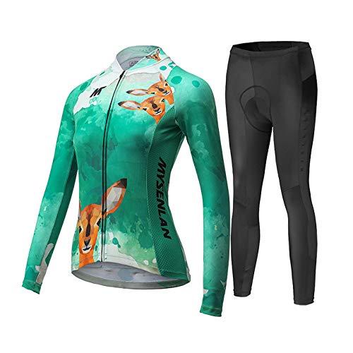 MYSENLAN Damen Radtrikot Fahrradbekleidung Set Fahrrad Trikot mit Elastische Atmungsaktive Schnell Trocknen Stoff Longarm+Radhose mit 3D Sitzpolster Radsport-Anzüge -