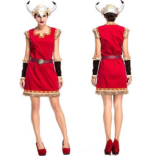 Erwachsene Für Barbar Krieger Kostüm - FHSIANN Erwachsene Frauen Halloween Viking Solider Krieger Barbar Kostüm Kleid Ox Horn Cap Set Sleeveless Weste Kleidung Outfit Für Damen