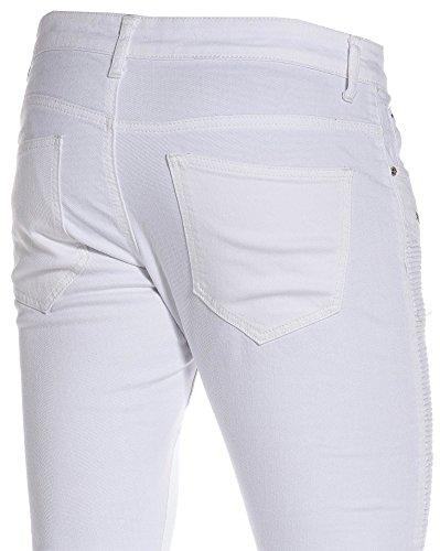 BLZ jeans - Jean slim blanc homme nervuré et zips fantaisie Blanc